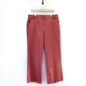 J Crew Coral Wide Leg Flat Front Chino Pants